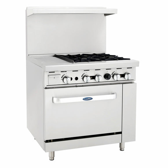 Atosa USA ATO-12G4B Four Burner 12-Inch Griddle Natural Gas Range