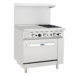Atosa USA ATO-24G2B 24-Inch Griddle Two Burner Natural Gas Range