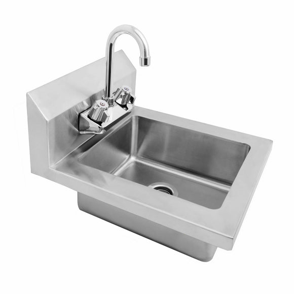 Atosa USA MRS-HS-14 18 Gauge Stainless Wall Mounted Hand Sink with Gooseneck Faucet - 14-Inch