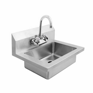 Atosa USA MRS-HS-18 18 Gauge Stainless Steel Wall Mounted Hand Sink with Gooseneck Faucet - 18-Inch