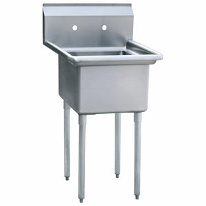 Atosa USA MRSA-1-N 24-Inch Prep Sink 18 Gauge Stainless Steel Hand Sink - 1 Compartment