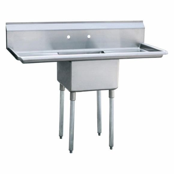 Atosa USA MRSA-1-D Prep Sink 18 Gauge Stainless Steel 1 Compartment Sink with Drainboards