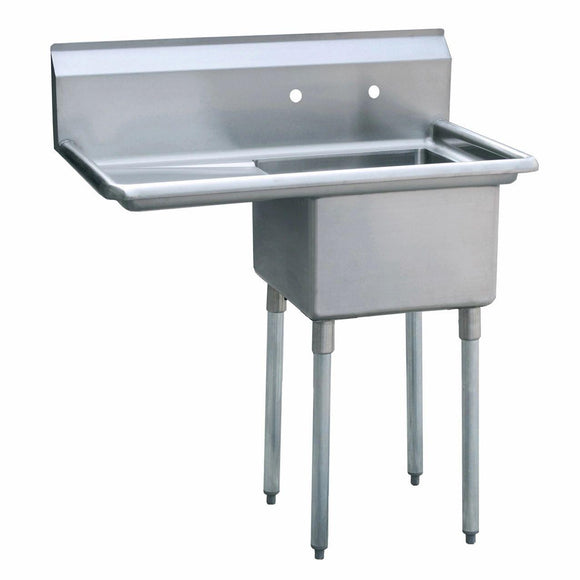 Atosa USA MRSA-1-L Prep Sink 18 Gauge Stainless Steel 1 Compartment Sink with Left Drainboards