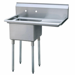 Atosa USA MRSA-1-R Prep Sink 18 Gauge Stainless Steel 1 Compartment Sink with Right Drainboards