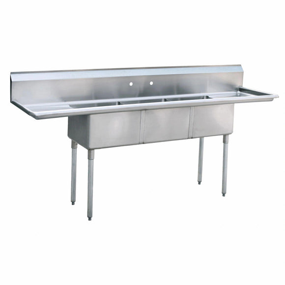 Atosa USA MRSA-3-D Prep Sink 18 Gauge Stainless Steel 3 Compartment Sink with Drainboards - 90-Inches