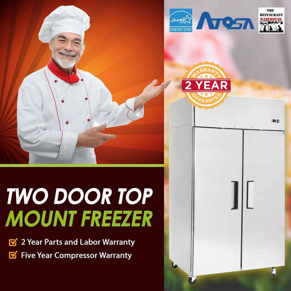 Atosa USA MBF8002 52-Inch Two Door Upright Freezer - Energy Star Rated