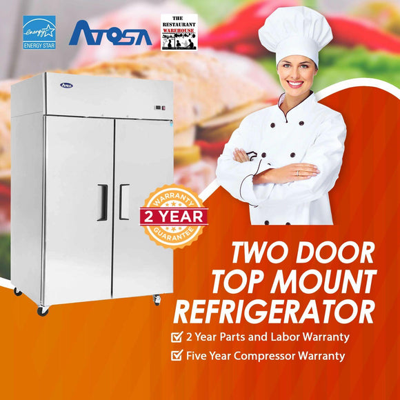 Atosa USA MBF8005 52-Inch Two Door Upright Refrigerator - Energy Star Rated