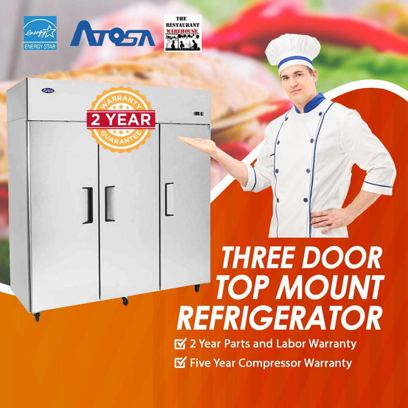 Atosa USA MBF8006 Series Stainless Steel 78-Inch Three Door Upright Refrigerator - Energy Star Rated