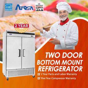 Atosa USA MBF8507 54-Inch Two Door Upright Refrigerator - Energy Star Rated