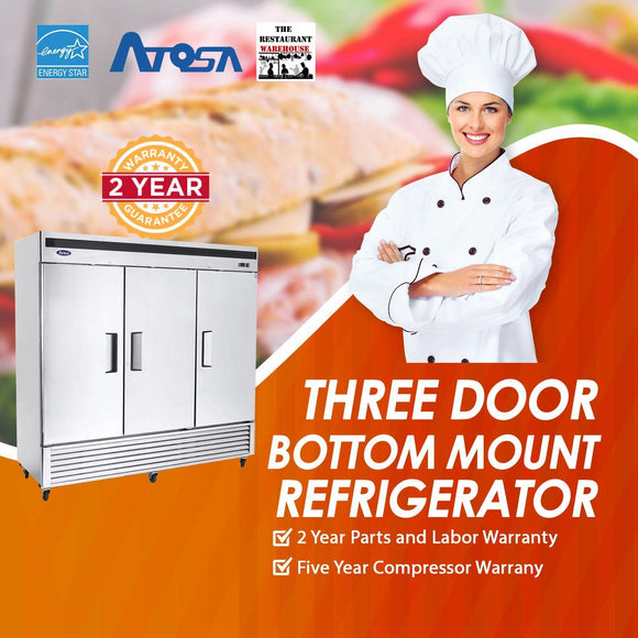 Atosa USA MBF8508 82-Inch Three Door Upright Refrigerator - Energy Star Rated