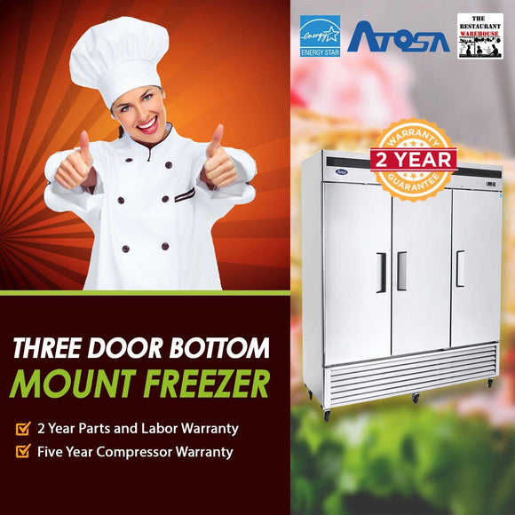 Atosa USA MBF8504 Series Stainless Steel 82-Inch Three Door Upright Freezer - Energy Star Rated