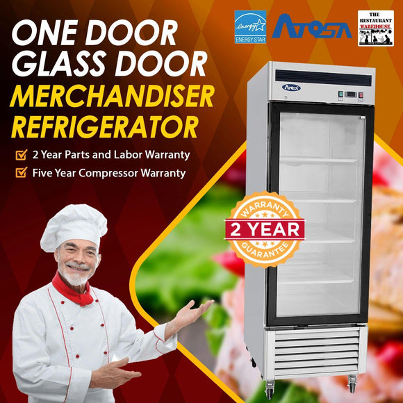 Atosa USA MCF8705 27-Inch Glass Single Door Merchandiser Upright Refrigerator