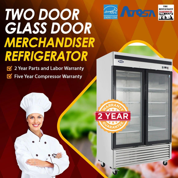 Atosa USA MCF8707 55-Inch Glass Two Door Merchandiser Upright Refrigerator