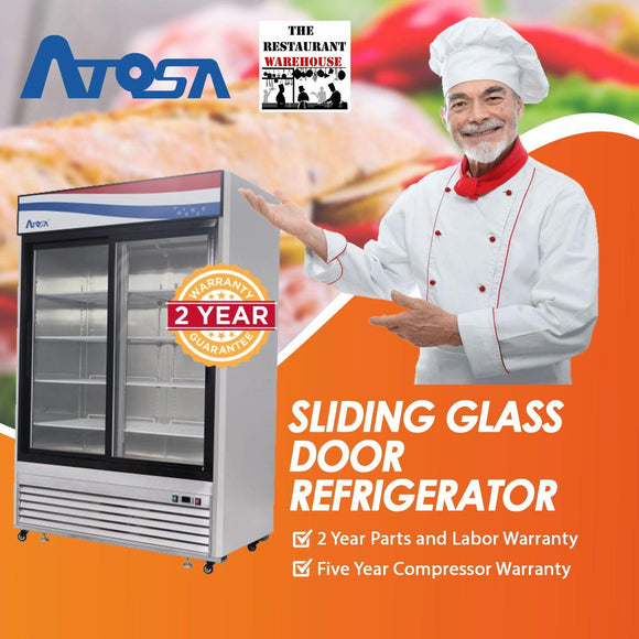 Atosa USA MCF8709 Sliding Glass Merchandiser 55-Inch Two Door Refrigerator