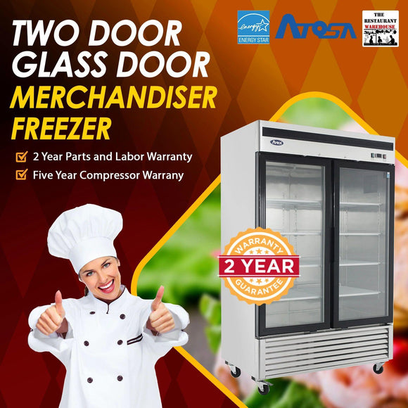 Atosa USA MCF8703 55-Inch Glass Two Door Merchandiser Upright Freezer