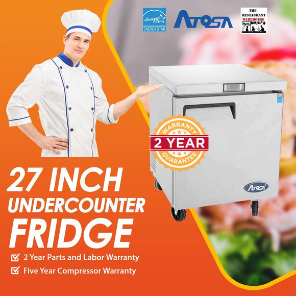 Atosa USA MGF8401 Undercounter 27-Inch One Door Refrigerator - Energy Star Rated