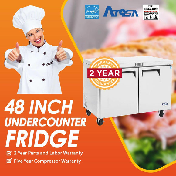 Atosa USA MGF8402 Undercounter 48-Inch Two Door Refrigerator - Energy Star Rated