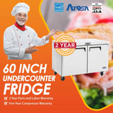 Atosa USA MGF8403 Undercounter 60-Inch Two Door Refrigerator - Energy Star Rated
