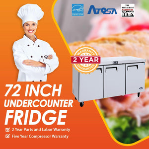 Atosa USA MGF8404 Undercounter 72-Inch Three Door Refrigerator - Energy Star Rated