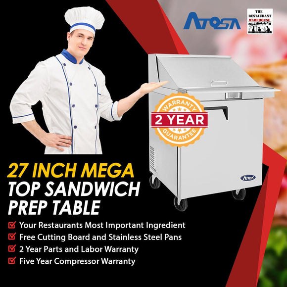 Atosa MSF8305 27-Inch Mega Top Sandwich Prep Table