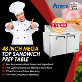 Atosa MSF8306 48-Inch Mega Top Sandwich Prep Table