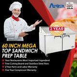 Atosa MSF8307 60-Inch Mega Top Sandwich Prep Table