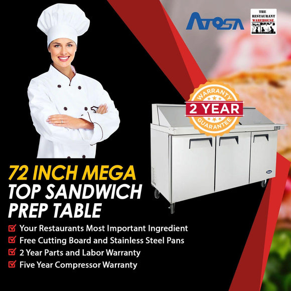Atosa MSF8308 72-Inch Mega Top Sandwich Prep Table