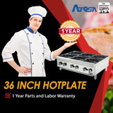 Atosa USA ATHP-36-6 Heavy Duty Stainless Steel 36-Inch Six Burner Hotplate - Propane