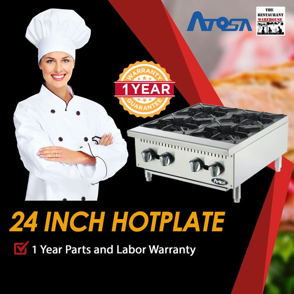 Atosa USA ATHP-24-4 Heavy Duty Stainless Steel 24-Inch Four Burner Hotplate - Propane