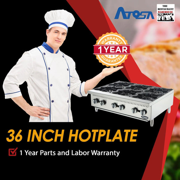 Atosa USA ATHP-36-6 Heavy Duty Stainless Steel 36-Inch Six Burner Hotplate - Natural Gas
