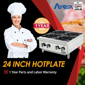 Atosa USA ATHP-24-4 Heavy Duty Stainless Steel 24-Inch Four Burner Hotplate - Natural Gas