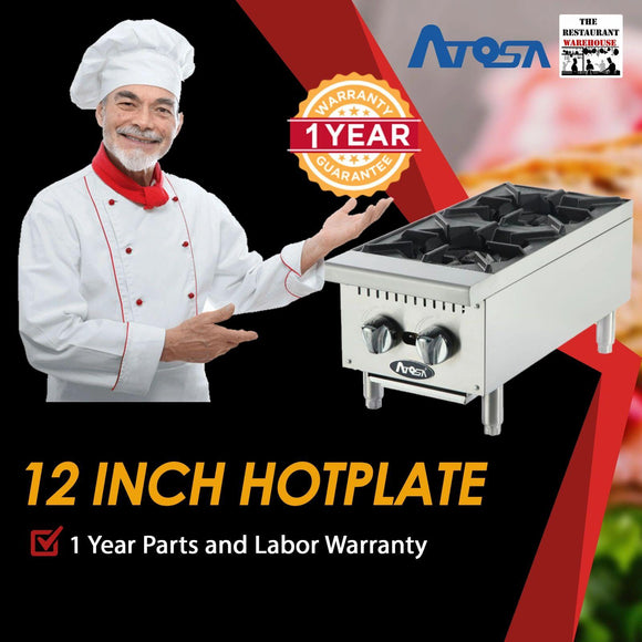 Atosa USA ATHP-12-2 Heavy Duty Stainless Steel 12-Inch Two Burner Hotplate - Natural Gas