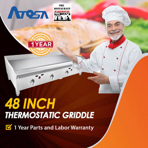 Atosa USA ATMG-48T 48-Inch Thermostatically Controlled Griddle NG
