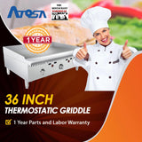 Atosa USA ATMG-36T 36-Inch Thermostatically Controlled Griddle LP
