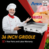 Atosa USA ATMG-36 Heavy Duty Stainless Steel 36-Inch Manual Griddle - Propane