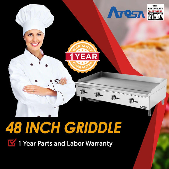 Atosa USA ATMG-48 Heavy Duty Stainless Steel 48-Inch Manual Griddle - Natural Gas