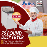 Atosa USA ATFS-75 Heavy Duty 75 LB Stainless Steel Deep Fryer - Propane