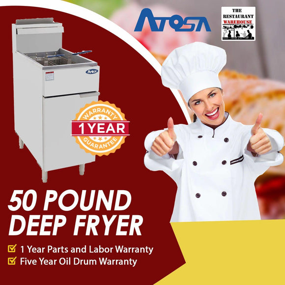 Atosa USA ATFS-50 Heavy Duty 50 LB Stainless Steel Deep Fryer - Propane