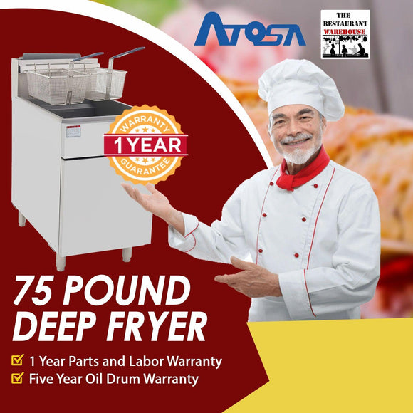 Atosa USA ATFS-75 Heavy Duty 75 LB Stainless Steel Deep Fryer - Natural Gas