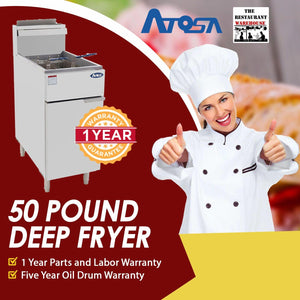 Atosa USA ATFS-50 Heavy Duty 50 LB Stainless Steel Deep Fryer - Natural Gas