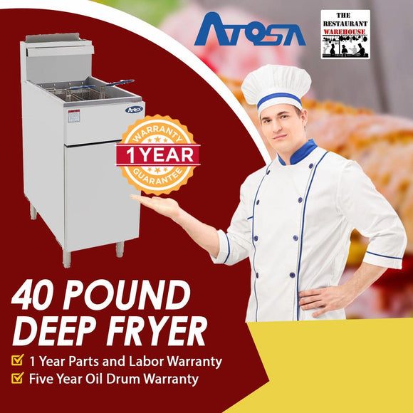Atosa USA ATFS-40 Heavy Duty 40 LB Stainless Steel Deep Fryer - Natural Gas