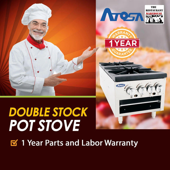 Atosa USA ATSP-18-2L 18-Inch Low Double Burner Stock Pot Stove - Natural Gas