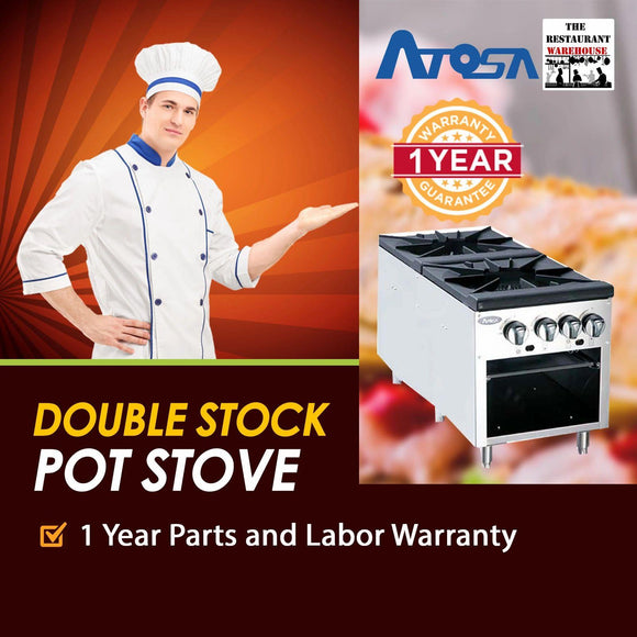 Atosa USA ATSP-18-2 Heavy Duty Stainless Steel 18-Inch Double Burner Stock Pot Stove - Propane