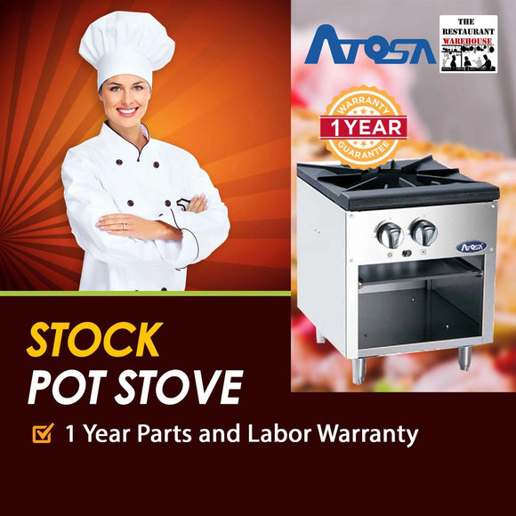 Atosa USA ATSP-18-1 Heavy Duty Stainless Steel 18-Inch Stock Pot Stove - Natural Gas
