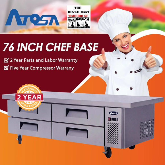 Atosa USA MGF8454 76-Inch Chef Base Refrigerated Equipment Stand