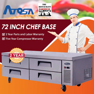 Atosa USA MGF8453 72-Inch Chef Base Refrigerated Equipment Stand