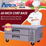 Atosa USA MGF8452 60-Inch Chef Base Refrigerated Equipment Stand