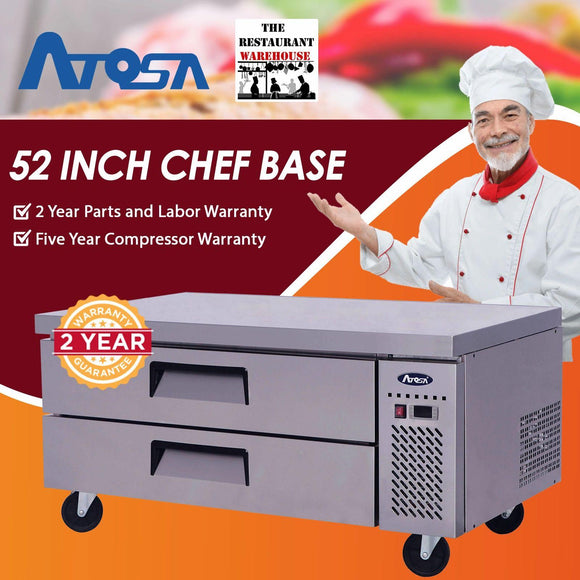 Atosa USA MGF8451 52-Inch Chef Base Refrigerated Equipment Stand