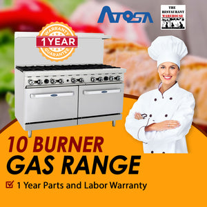 Atosa USA ATO-10B 60-Inch Ten Burner Natural Gas Range