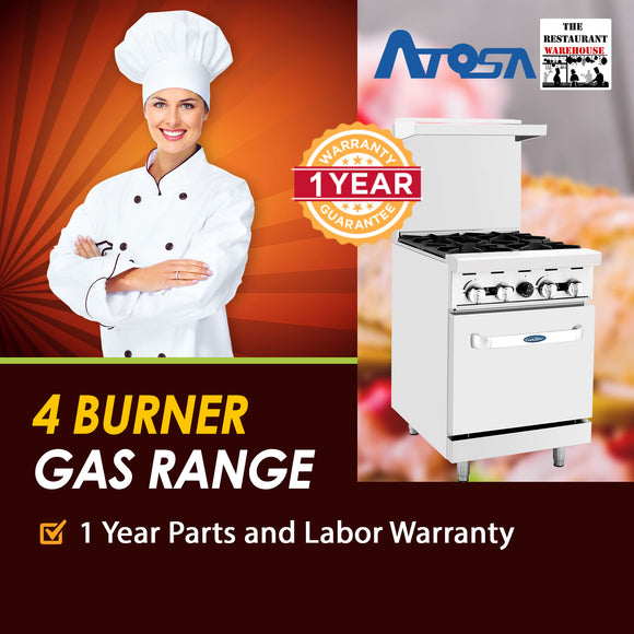 Atosa USA ATO-4B 24-Inch Four Burner Natural Gas Restaurant Range
